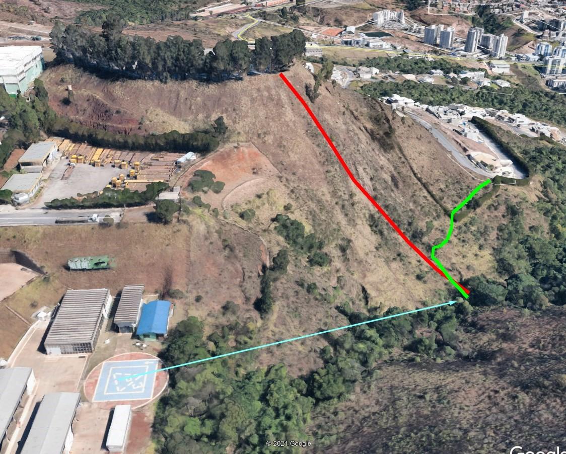 Região do acidente com o helicoptero em BH