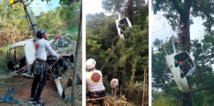 Equipe Nerea resgatando o helicóptero por uma tirolesa